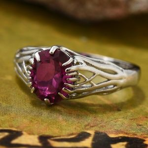 Radiant Orchid Quartz Platinum Over SS Ring